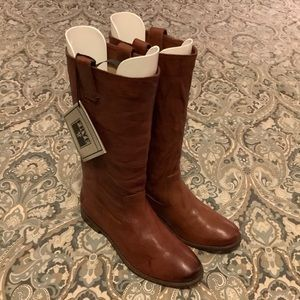 NWT Frye Anna Mid Pull Cognac Leather Boots Sz 8